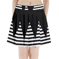 Black & White Stripes Big Triangle Pleated Mini Skirt