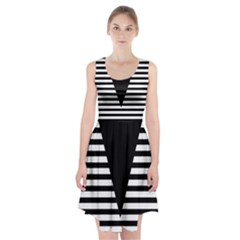 Black & White Stripes Big Triangle Racerback Midi Dress