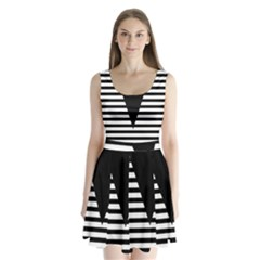 Black & White Stripes Big Triangle Split Back Mini Dress