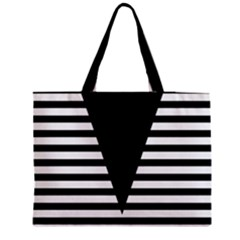 Black & White Stripes Big Triangle Medium Zipper Tote Bag
