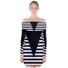 Black & White Stripes Big Triangle Long Sleeve Off Shoulder Dress