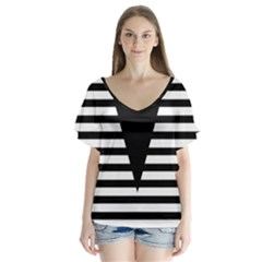 Black & White Stripes Big Triangle Flutter Sleeve Top
