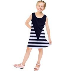 Black & White Stripes Big Triangle Kids  Tunic Dress