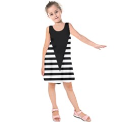 Black & White Stripes Big Triangle Kids  Sleeveless Dress