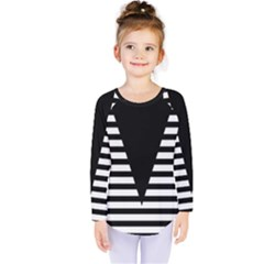 Black & White Stripes Big Triangle Kids  Long Sleeve Tee