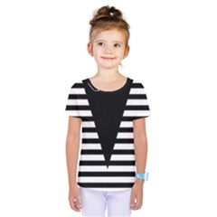 Black & White Stripes Big Triangle Kids  One Piece Tee