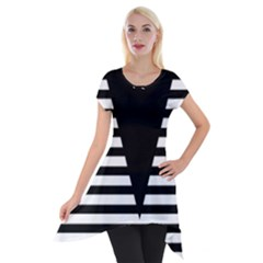 Black & White Stripes Big Triangle Short Sleeve Side Drop Tunic