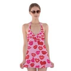 Valentine s Day Kisses Halter Swimsuit Dress