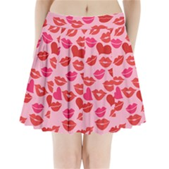 Valentine s Day Kisses Pleated Mini Skirt