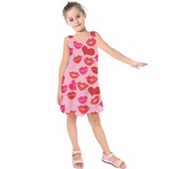 Valentine s Day Kisses Kids  Sleeveless Dress