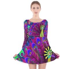 Peacock Abstract Digital Art  Long Sleeve Velvet Skater Dress