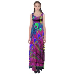 Peacock Abstract Digital Art  Empire Waist Maxi Dress