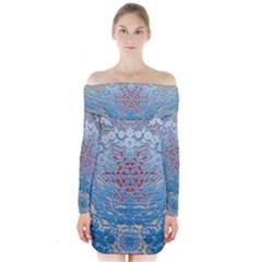 Pattern Background Pattern Tile Long Sleeve Off Shoulder Dress