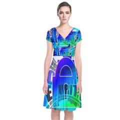 Security Castle Sure Padlock Short Sleeve Front Wrap Dress
