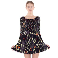 Spiders Colorful Long Sleeve Velvet Skater Dress