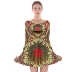 Tile Background Image Color Pattern Long Sleeve Skater Dress