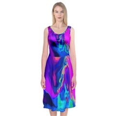 The Perfect Wave Pink Blue Red Cyan Midi Sleeveless Dress