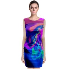 The Perfect Wave Pink Blue Red Cyan Classic Sleeveless Midi Dress