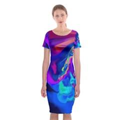 The Perfect Wave Pink Blue Red Cyan Classic Short Sleeve Midi Dress
