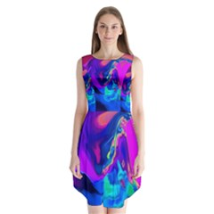 The Perfect Wave Pink Blue Red Cyan Sleeveless Chiffon Dress