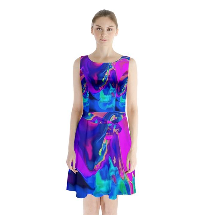The Perfect Wave Pink Blue Red Cyan Sleeveless Chiffon Waist Tie Dress