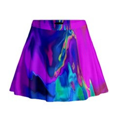 The Perfect Wave Pink Blue Red Cyan Mini Flare Skirt