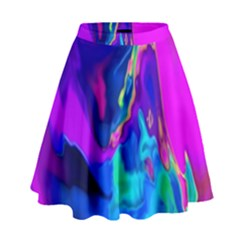 The Perfect Wave Pink Blue Red Cyan High Waist Skirt