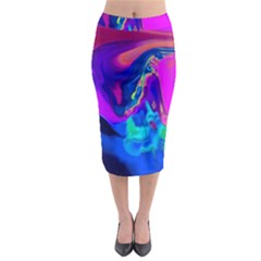 The Perfect Wave Pink Blue Red Cyan Midi Pencil Skirt