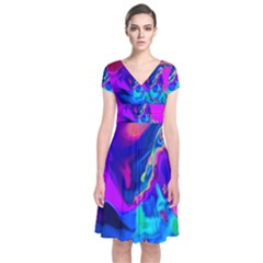 The Perfect Wave Pink Blue Red Cyan Short Sleeve Front Wrap Dress