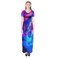 The Perfect Wave Pink Blue Red Cyan Short Sleeve Maxi Dress