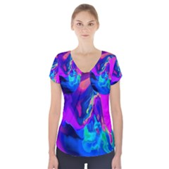 The Perfect Wave Pink Blue Red Cyan Short Sleeve Front Detail Top