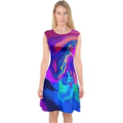 The Perfect Wave Pink Blue Red Cyan Capsleeve Midi Dress