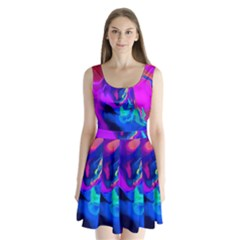 The Perfect Wave Pink Blue Red Cyan Split Back Mini Dress