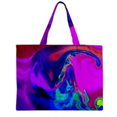 The Perfect Wave Pink Blue Red Cyan Medium Zipper Tote Bag