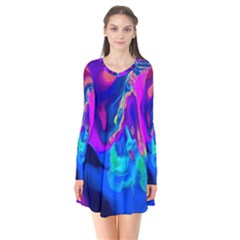 The Perfect Wave Pink Blue Red Cyan Flare Dress