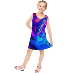 The Perfect Wave Pink Blue Red Cyan Kids  Tunic Dress