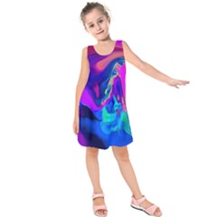 The Perfect Wave Pink Blue Red Cyan Kids  Sleeveless Dress