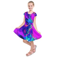 The Perfect Wave Pink Blue Red Cyan Kids  Short Sleeve Dress