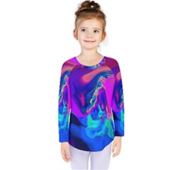The Perfect Wave Pink Blue Red Cyan Kids  Long Sleeve Tee
