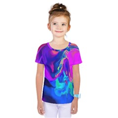 The Perfect Wave Pink Blue Red Cyan Kids  One Piece Tee