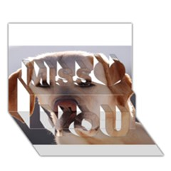 Yellow Labrador Miss You 3D Greeting Card (7x5)