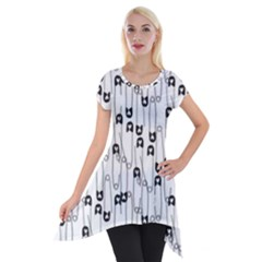 Safety Pin Pattern Short Sleeve Side Drop Tunic