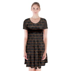 Brick1 Black Marble & Brown Marble Short Sleeve V Neck Flare Dress