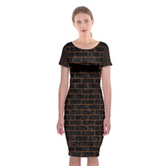 Brick1 Black Marble & Brown Marble Classic Short Sleeve Midi Dress