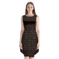 Brick1 Black Marble & Brown Marble Sleeveless Chiffon Dress