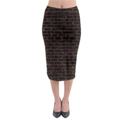 Brick1 Black Marble & Brown Marble Midi Pencil Skirt
