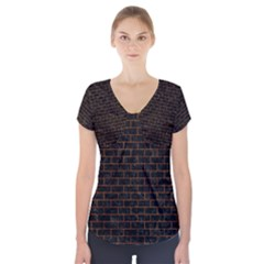 Brick1 Black Marble & Brown Marble Short Sleeve Front Detail Top