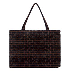 Brick1 Black Marble & Brown Marble Medium Tote Bag