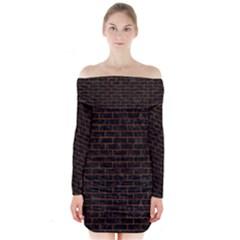 Brick1 Black Marble & Brown Marble Long Sleeve Off Shoulder Dress