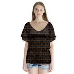 Brick1 Black Marble & Brown Marble V Neck Flutter Sleeve Top